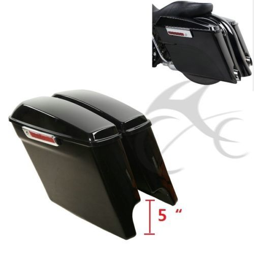 5 Extended Stretched Saddlebags W/ Keys Fit for Harley Touring Road King Electra Street Glide  FLT FLHT FLHTCU FLHRC 2014-2018 matte black 5 stretched hard saddle bags latch side bag for harley road king road street glide softail dyna and sportster 93 13