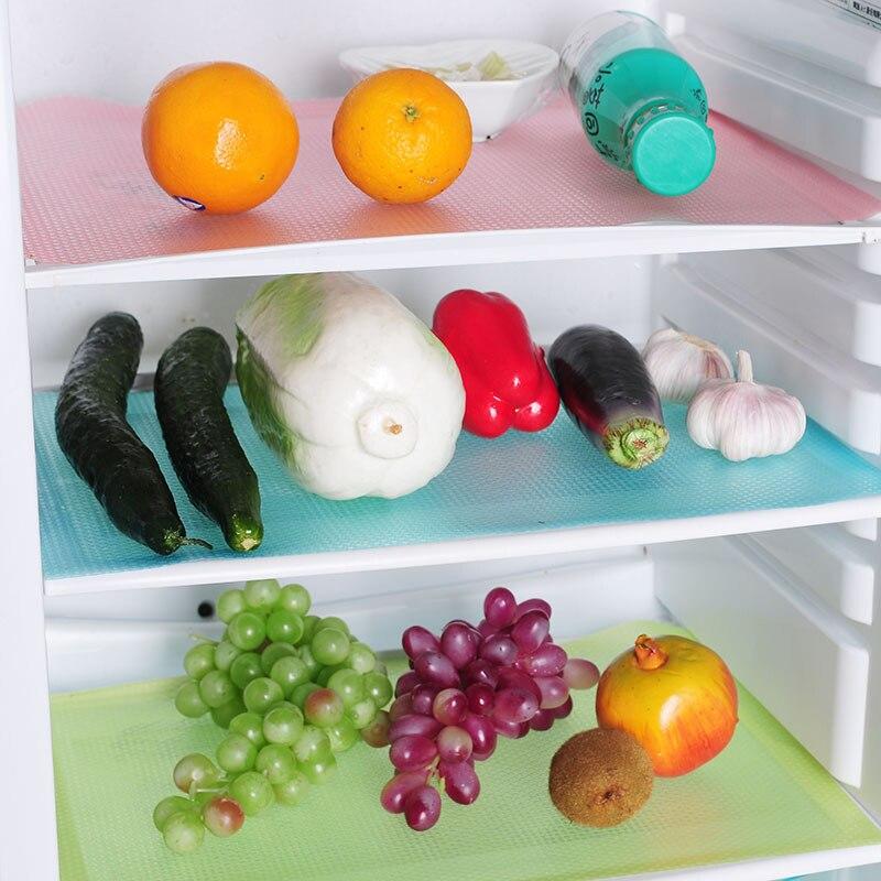 4Pcs Refrigerator Pads Set Cabinet Mats Mildew Antibacterial Antifouling Mildew Moisture Absorption Pad Table Decoration