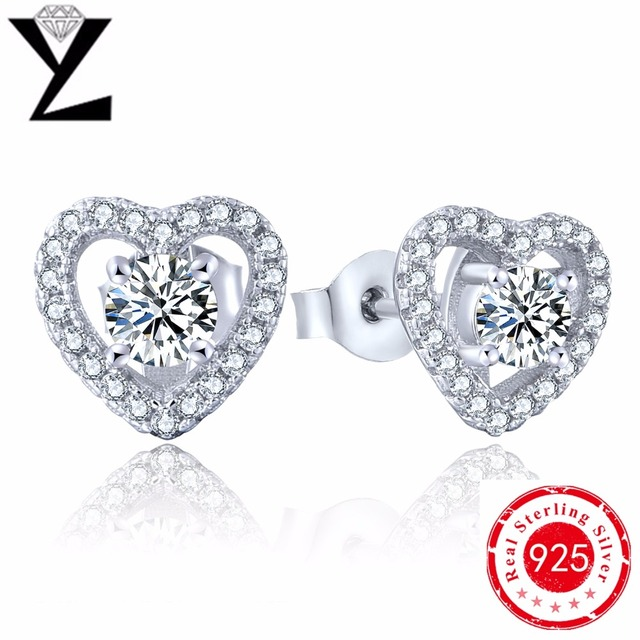 best friends gift fashion 925 silver earings heart stud orecchini 925 sterling silver Elegant jewelry wholesale
