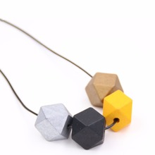 1pc jewelry statement necklaces & pendants long rope wooden beads pendant women necklace for christmas gifts colar collar