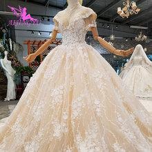 Aijingyu 웨딩 드레스 짧은 전면 긴 다시 중국 공장 제조 업체 하나의 웨딩 드레스에 가장 아름다운 가격 가운 두