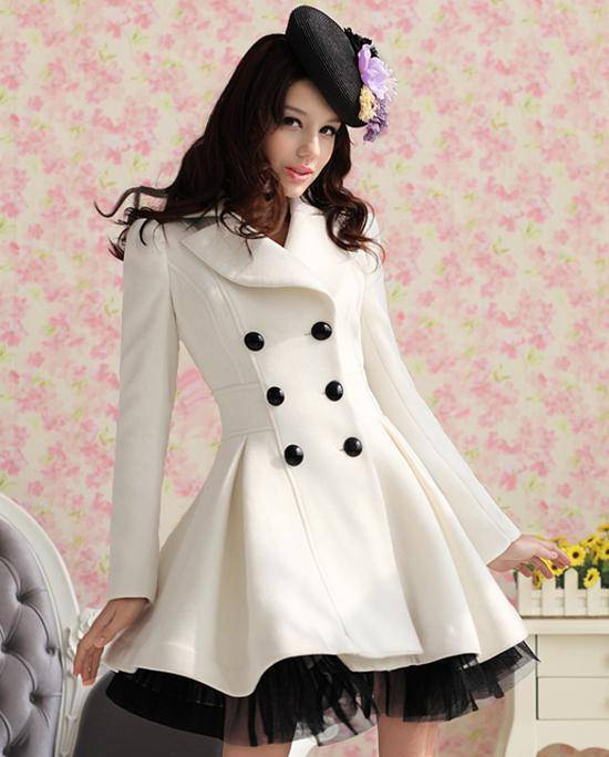 Free Shipping 2013 Red Black White Wool Dress Coats Women ...
