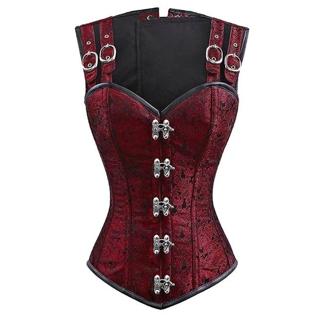 Sexy gothique Corset vêtements Femme surbuste Bustier Stempunk Corset Femme noir rouge grande taille avec des chaînes 2019 tendances produits