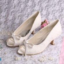 Бежевый Кружева Невесты Обувь Низком Каблуке Кот Насосы с Бантом Женская Обувь Peep Toe