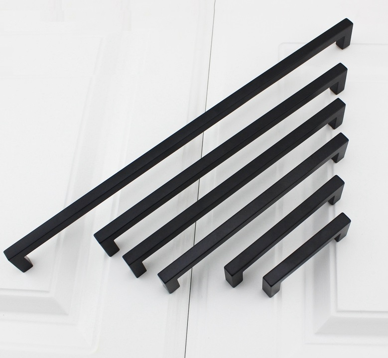 2Pcs/Lot Premintehdw 9*9MM American Style Zinc Kitchen Cupboard Furniture Cabinet Drawer Black Square Design Pull Handle premintehdw adjustable hydraulic flap stay soft down lid stay cabinet cupboard lift up support strut