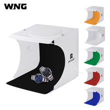 "Купить с кэшбэком 20*20cm 8"" Mini Foldable Camera Photo Studio Soft Box Built In LED Photography Light Tent Softbox Light Room Tabletop Shooting"