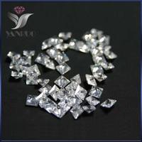 YanRuo 4447 500pcs 3mm Unfoiled Square White Shiny Cubic Zirconia Stone Diamond Diamant Gems Nails Square