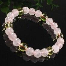 XSM New Stylish Rose Quartz With Citrine Reiki Round Beads Elastic Bracelet Fashion Jewelry
