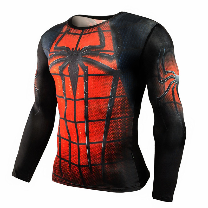Fashion superhero anime t shirts punisher superman t shirt men fitness gyms compression shirt tights crossfit brand clothing-2