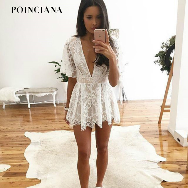 8137e7cd6b72 Sexy Deep V Neck Lace Playsuit Short Sleeve Sweet Playsuite Cute Rompers  For Women White Summer Jumpsuit Nightclub Overralls