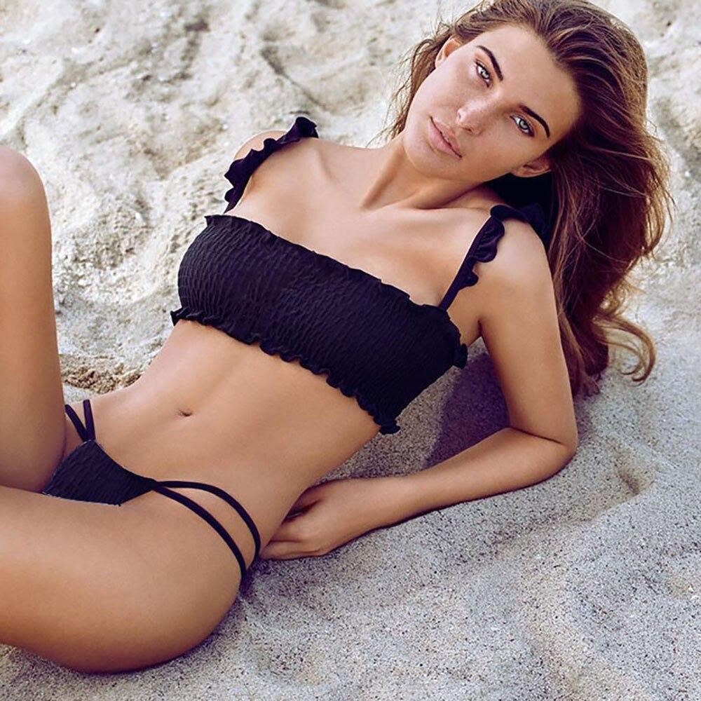 Women Bikini Set Swimwear Push-Up Padded Pleat Bra Swimsuit Beachwear Bathing Suit Bikini Swiming #2DQ