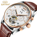 Luxury Brand Kinyued Mechanical Watches Mens Skeleton Automatic Tourbillon Watch Men Gold Calendar Wristwatch Relogio Mecanico