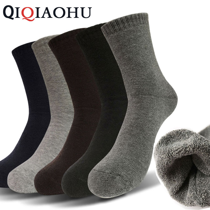 5Pairs Brand Men Winter Warm Fleece Thickness Socks Male Cotton Thicken Terry Socks Business Thermal Solid Black Sliver Sokken