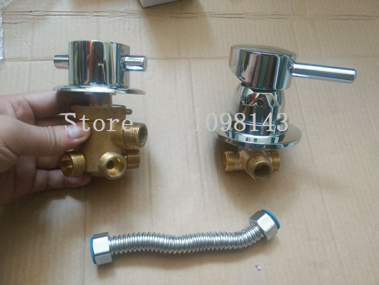 Mélangeur de douche à 5 voies + Tube séparé, robinet de salle de douche à sortie d'eau 3/4/5 voies, mitigeur de salle de bain