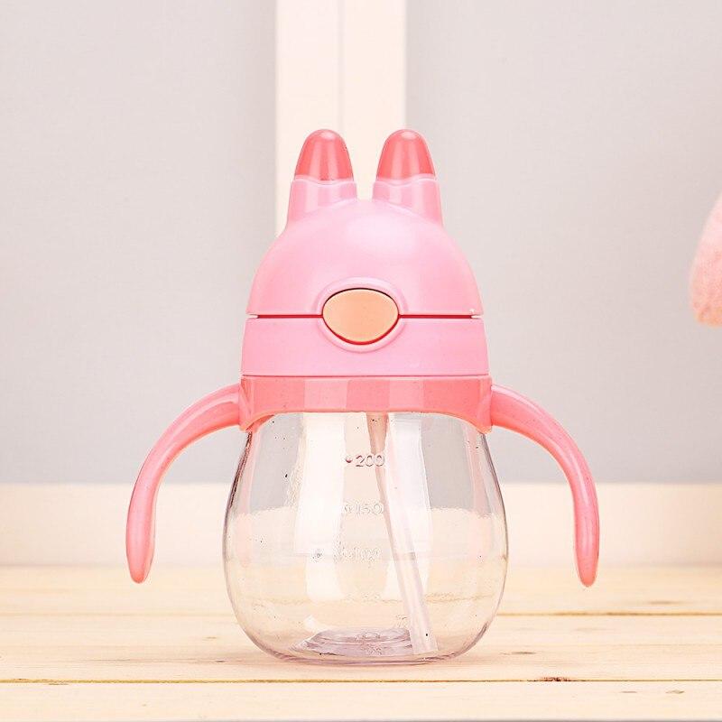 200ml Baby Cups Rabbit Head Feeding Bottle Mouth Adjust Water Cup Hand Sling Holder Shatter Milk Bottles