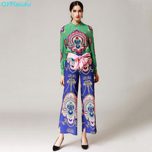 QYFCIOUFU High Quality Vintage Women 2 Piece Set Loose Printed Long Sleeves Tops And Blouses Runway