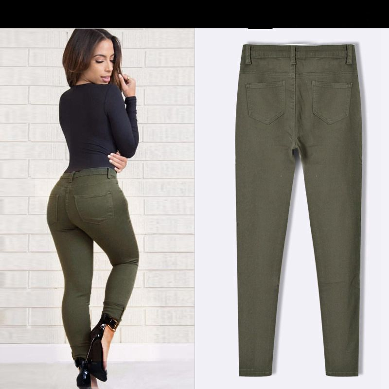 PADAUNGY High Waist Torn Jeans Ripped Jeggings Ankle Holes Army Green  Pencil Trousers Jardineira Feminina Slim Fit Jean Taille-in Jeans from  Women's ... - PADAUNGY High Waist Torn Jeans Ripped Jeggings Ankle Holes Army