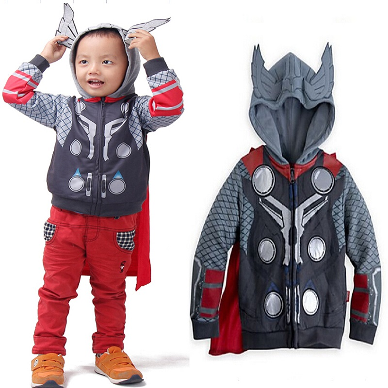 multiple styles child Baby clothes avengers Sport Cotton Hooded coat Boys and girls Role-play personality coat