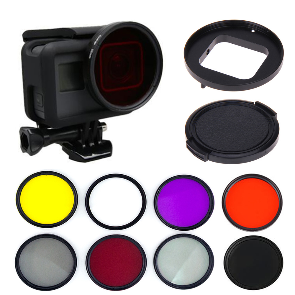 Easttowest Go Pro Accessories Go Pro 52mm Underwater Diving Filter with Adapter Ring Lens Cap for Go pro hero 5 Black Hero 6