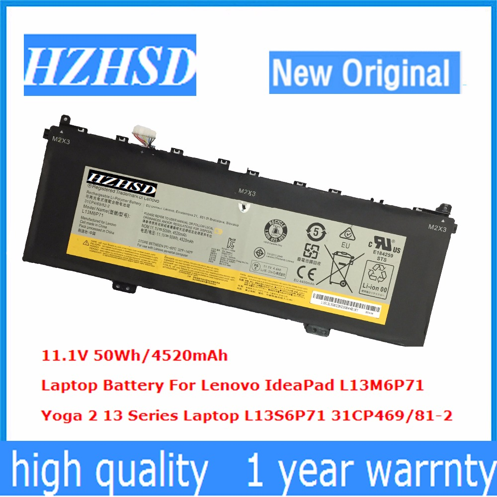11.1V 50Wh 4520mAh New Original L13M6P71 Laptop Battery For Lenovo IdeaPad Yoga 2 13 Series Laptop L13S6P71 31CP469/81-2 11 3v 47wh new original laptop battery for lenovo 45n1754 45n1755 45n1756 45n1757 e450 e455 e450c series