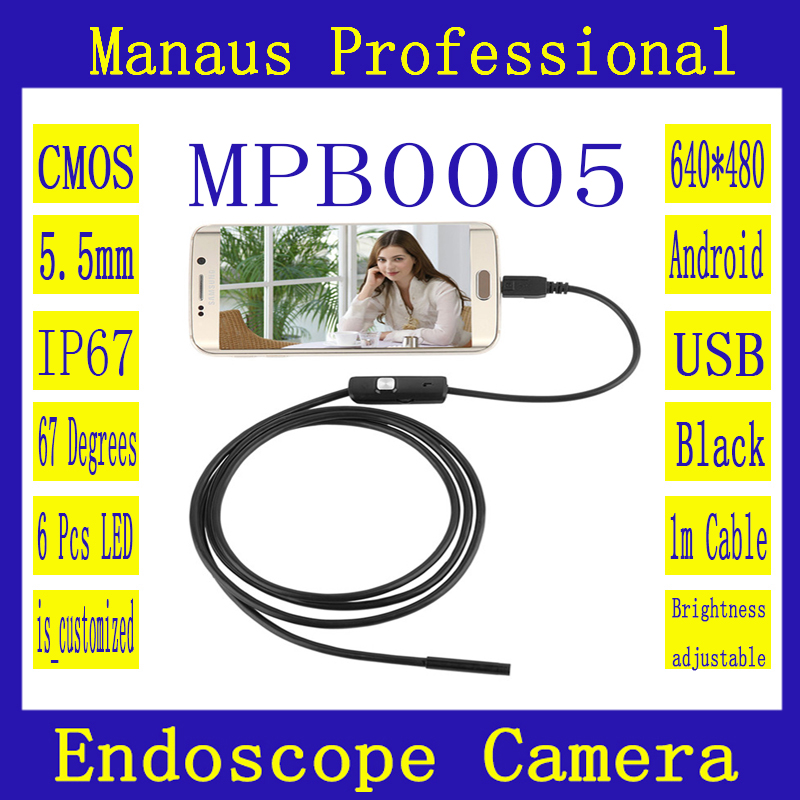 ФОТО 5.5mm Dia Android USB Endoscope Camera 1/1.5/2/3.5/5m Cable Waterproof 6 Adjustable LED Light Borescope Inspection Tube Cam B5a