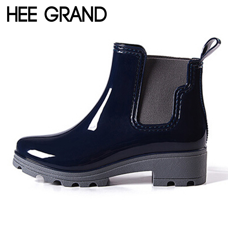 HEE GRAND Platform Rain Boots Ladies Rubber Ankle RainBoots Low Heels Women Slip On Pumps Shoes Woman Plus Size 36-41 XWX3577 strange heel women ankle boots genuine leather elastic booties wedge shoes woman high heels slip on women platform pumps