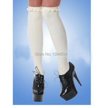 new hot sex products Sexy lingerie Women white pleated side Latex Socks with bows Fetish Catsuit Dress Stockings Free Shipping