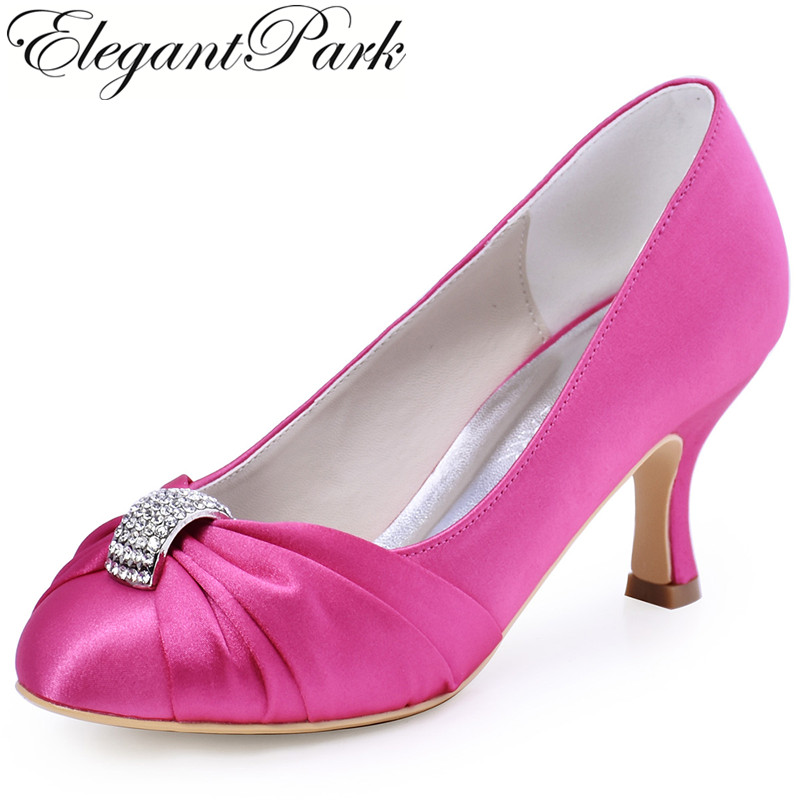 Woman Hot Pink High Heel Rhinestone Prom Party Pumps Satin Bridesmaid Lady Bride Wedding Bridal Shoes Burgundy Blue White HC1526 navy blue woman bridal wedding sandals med heel peep toe bride bridesmaid lady evening dress shoes white ivory pink red hp1623