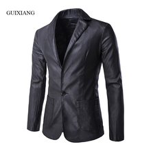 2017 new arrival autumn and winter style men Leather suit balzers fashion casual solid slim single button pocket suit jacket