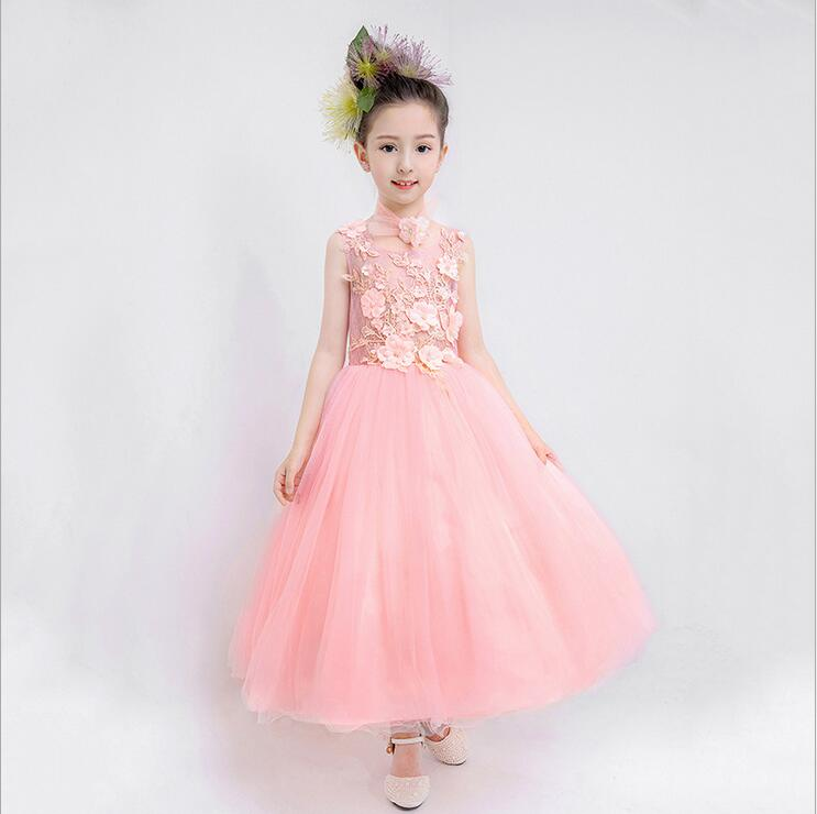 Long Pink Lace Flower Girl Dress Sleeveless O-neck Elegant Comunion Pageant Dresses For Girl Cheap Wedding Party Child Gown все цены