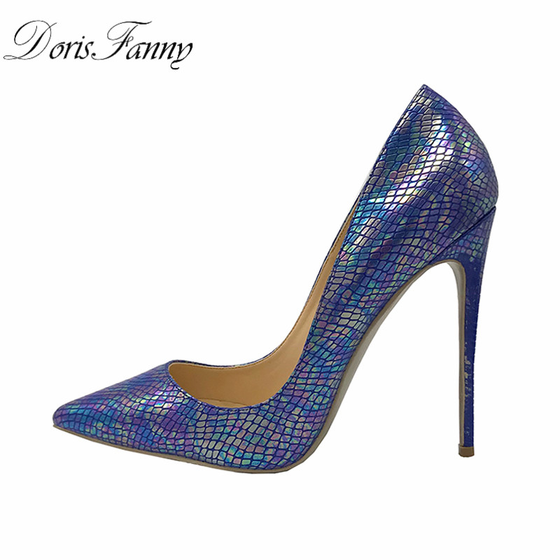 DorisFanny Blue stiletto Women Pumps Shoes Pointed Toe 2018 luxury shoes women designers Sexy High Heels