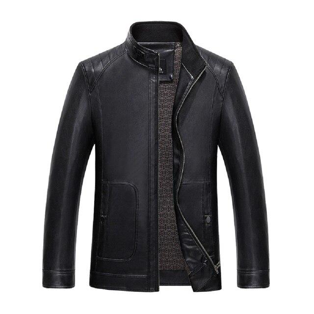 KUYOMENS поступила НОВАЯ Мода Мужская Кожаная Куртка Jaqueta Couro Случайный мужские кожаные куртки и пальто Марка Куртка Мотоцикла