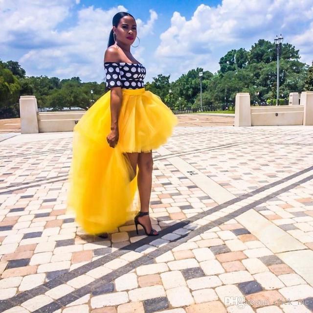 91fc23aea Fashion Yellow High Low Tulle Skirt Extra Puffy Solid Mesh Long Maxi Skirt  Asymmetrical Black Girl Fashion Women Skirt Plus Size