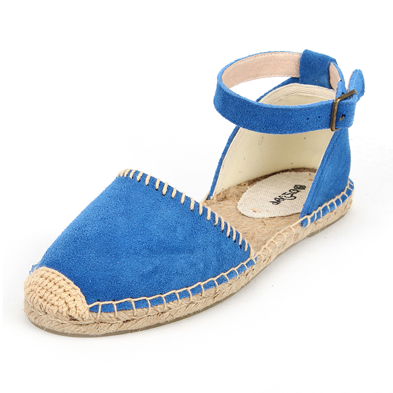 Genuine leather flat espadrilles Classic calf suede sandal espadrilles