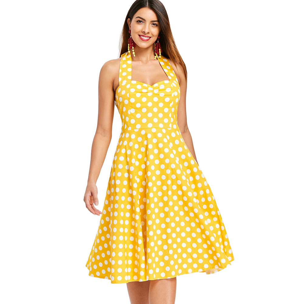 US $13.7 55% OFF Wipalo Plus Size 5XL Women Summer Dress Vintage Yellow  Polka Dot A Line Party Dress Casual Cotton Halter Dresses Female  Vestidos-in ...