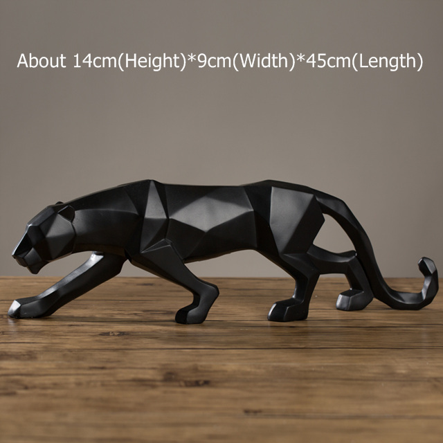 Modern Abstract Black Panther Sculpture Geometric Resin Leopard Statue Wildlife Decor Gift Craft Ornament Accessories Furnishing 3