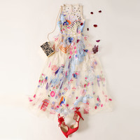 Black Pearl Beading Vine Mesh Panel Dress Women Sexy Sleeveless Floral Embroidery Dress 2018 Party Fit and Flare Dress