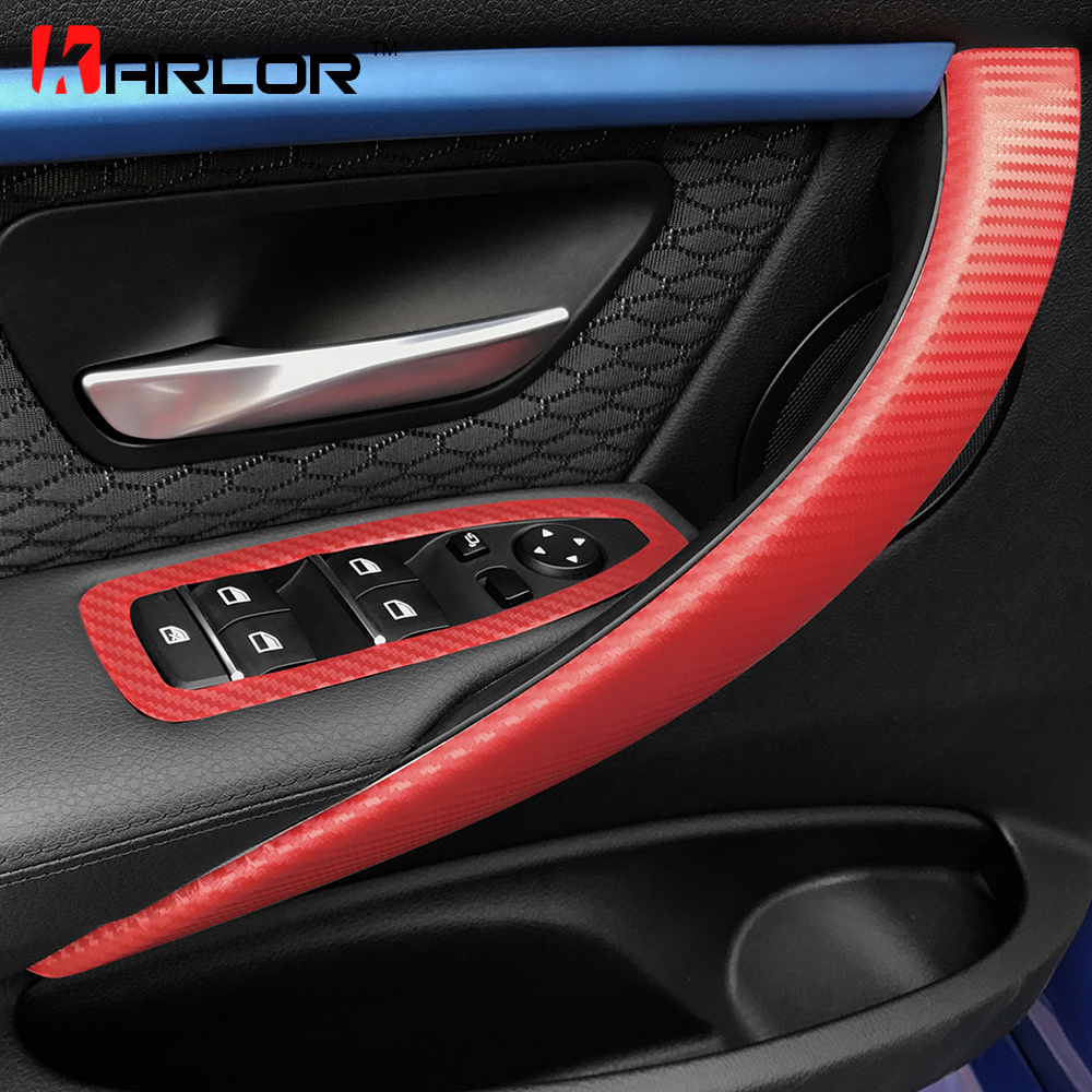 Carbon Fiber Interior Door Handle Window Switch Cover Trim Film Stickers Decals Car Styling For Bmw F30 F35 3 Series Accessories