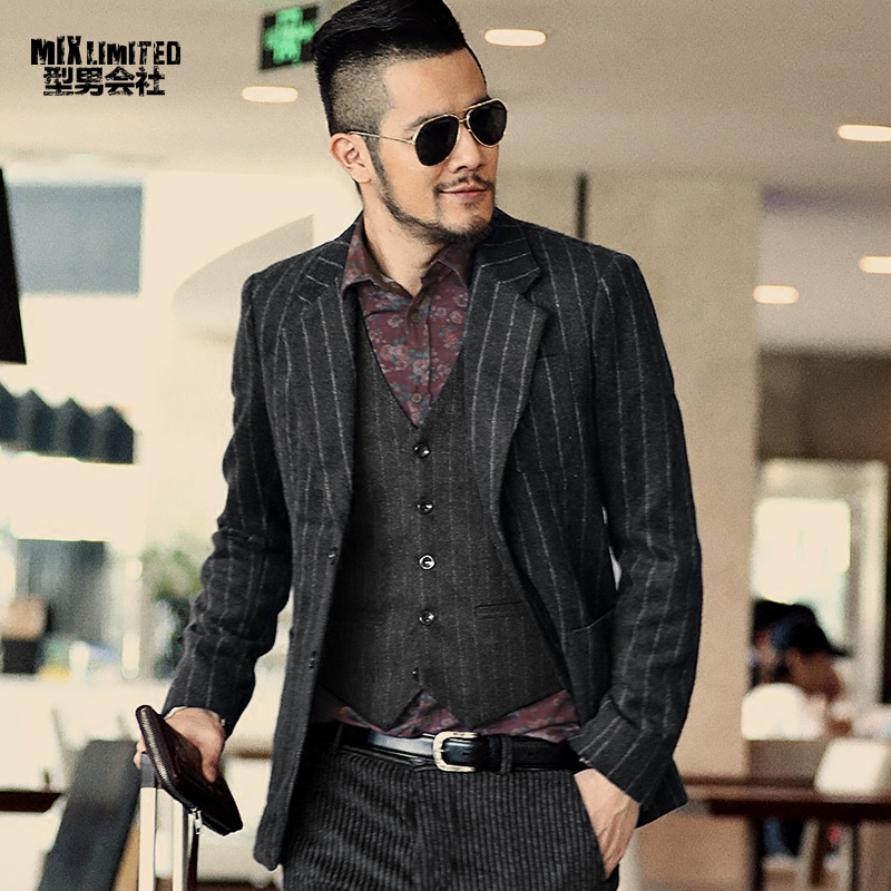 New winter mens suit jacket blazer slim fit men's casual suit woolen stretch business Mens striped suit jacket outwear F294
