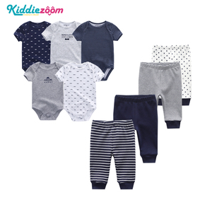 Image 3 - 9PCS/LOT Newborn Baby Clothes Sets 100% Cotton Rompers+ Pants Baby Jumpsuit Girl Clothing Pants Ropa Bebe Toddler Clothing Sets