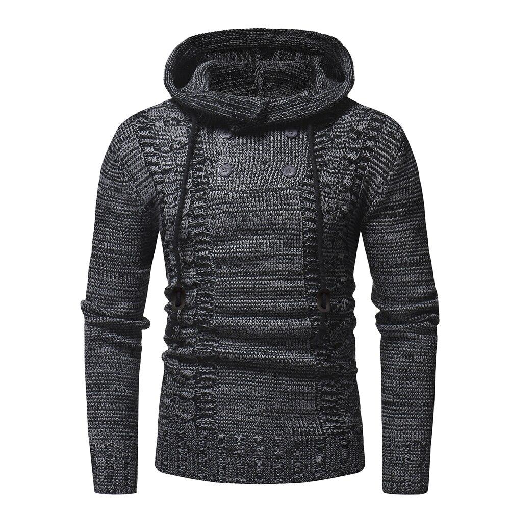 2018 New Pullovers Autumn Warm High-Quality Button Sweaters Man Casual Knitwear Winter Men Kakhi Sweatwer XXL