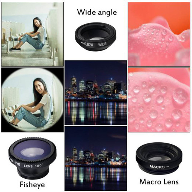 Universal 3in1 Clip Fish Eye Camera Lens Wide Angle Macro Mobile Phone Lens For IPhone 7 6 5 4 Smartphone Fisheye Lenses
