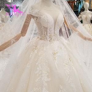 Image 2 - AIJINGYU Lungo Modest Abiti di Singapore Con La Coda Lunga Indonesia Plus Size Spose Pizzo WeddingGown Bridalwear