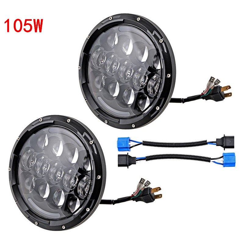 2PCS 7'' INCH 105W LED Headlight H4 H13 LED Driving light DRL Yellow Halo Angel for Jeep Wrangler JK CJ Harley free shipping 2pcs x 7 inch led headlight bulbs with drl for jk wrangler offroad harley motorcycle 7 headlamp