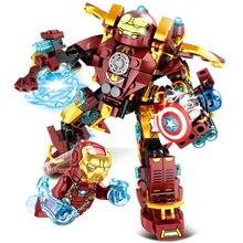 цена на SY1340 Marvel Super Heros Avengers Iron Man Smash Hulk Buster Building Blocks Toys for Children Boy Gift Hulkbuster MK46