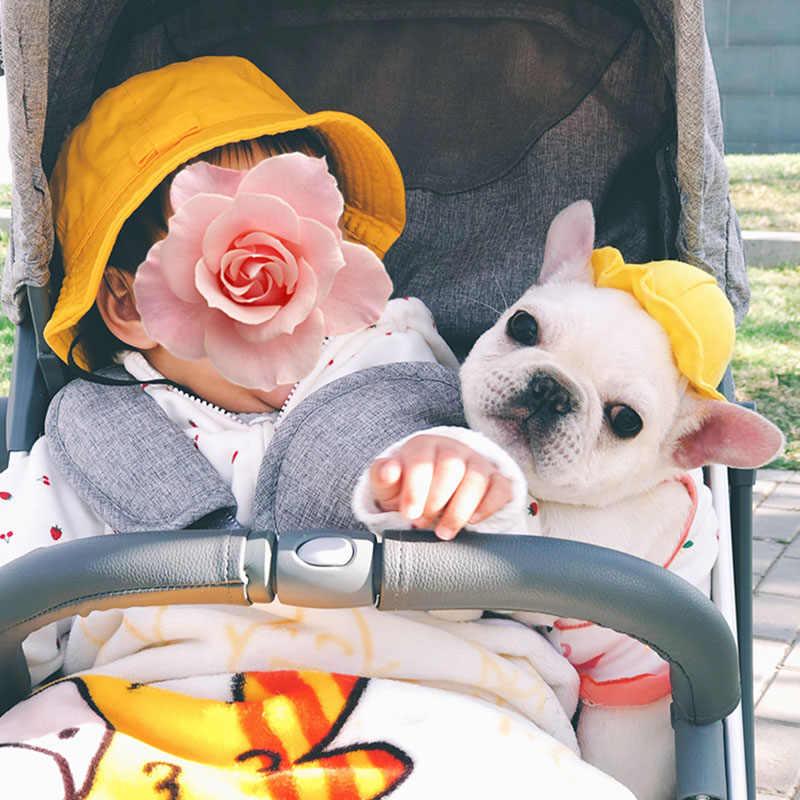Classico Cappello Cane Bulldog Francese Accessori per Cani di Piccola Taglia Cat Cappello Solido Giallo Pet Cappelli del Pescatore Cappelli per Cani cucciolo di Cane Cap