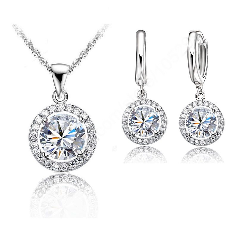 Earring Jewelry-Sets Bridal-Ornaments Necklace Filled-Austrian-Crystal Women Popular