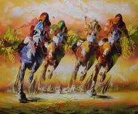 Handgeschilderde Racing Horse Canvas Schilderij Abstract Modern Portret Dier Paard Schilderen Muurschildering Foto voor Woonkamer