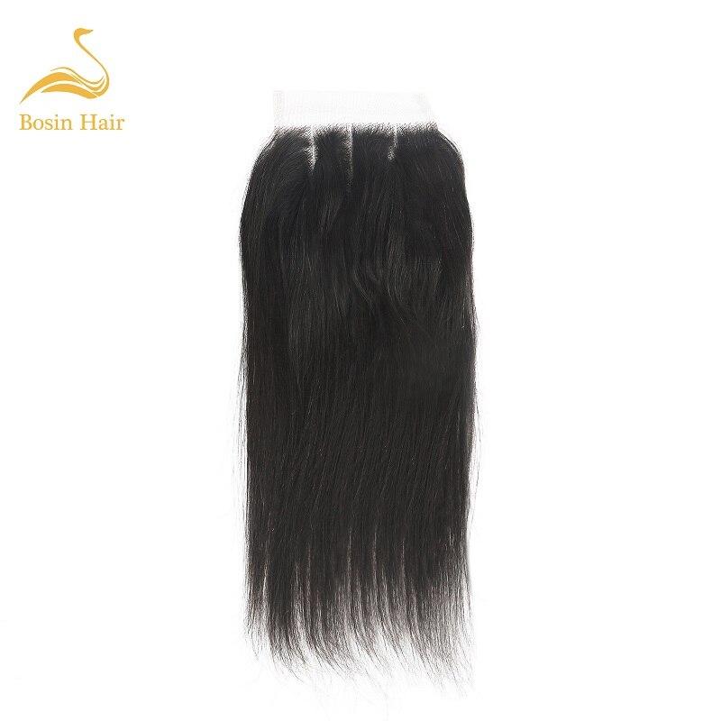 Bosin Straight Lace Closure Brazilian Natural Color 4*4 Free/Middle/Three Part