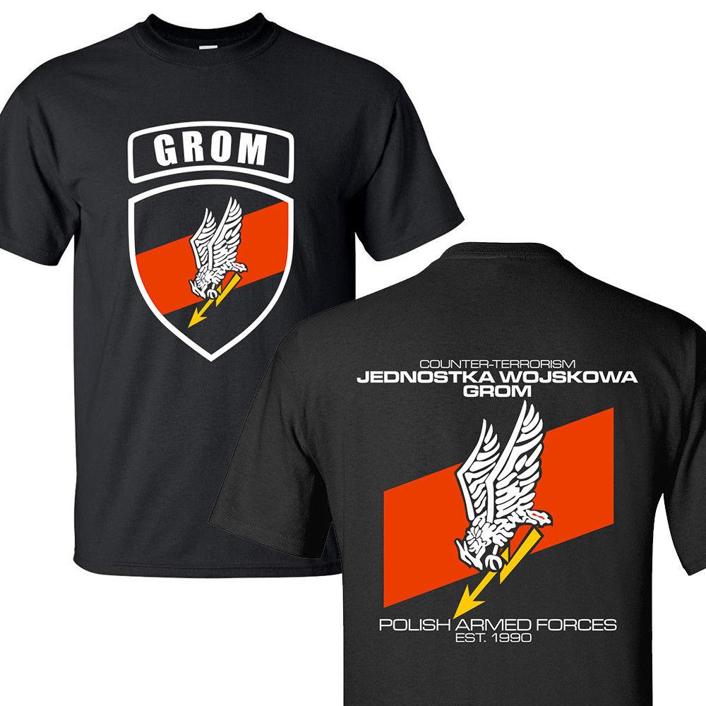 2018 nueva moda verano camiseta JW GROM Polonia Elite terrorismo unidad Fuerza Especial Militar camiseta s-3xl